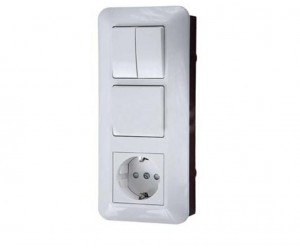 Блок БК2ВР-008В (2кл.выкл.+евророз.) комб. (33019)