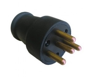 Вилка 3104-301-0300 прямая 3р+Е 25А  380В (каучук)