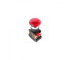 Кнопка AELA-22 Грибок d22мм красный неон/240В 1з+1р