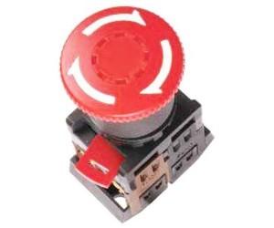 Кнопка ANE-22 Грибок с фиксацией d22мм красный неон/240В 1з+1р
