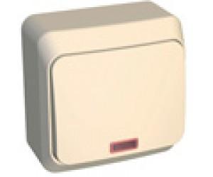 ВА10-005к ЭТЮД Выключатель 1-кл ОП с инд крем  (25)(69026)