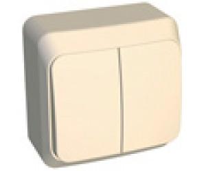 ВА10-006к ЭТЮД Выключатель 2-кл ОП с индикацией крем подсветка внутри (25)(69029)