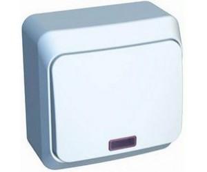 ВА10-007b ЭТЮД переключатель 1-кл ОП с инд. белый  (25) (69009)