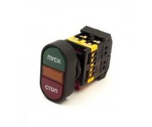 Кнопка APBB-22NПуск-Стоп d22мм неон/240В 1з+1р