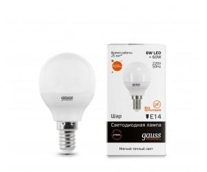 Лампа светодиодная LED шар 6W E14 2700 Gauss Elem.(431325)