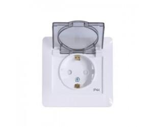 Глосса GSL000148 Розетка с рамкой,з/к со шторками с крышк.,IP44  бел.