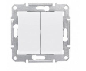 Седна Выключатель 2-кл. белый SDN0300121 (89318)
