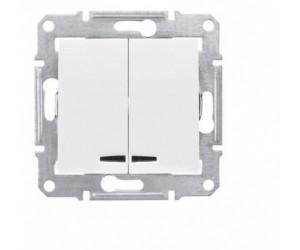 Седна Выключатель 2-кл. с подсветкой белый SDN0300321 (89320)