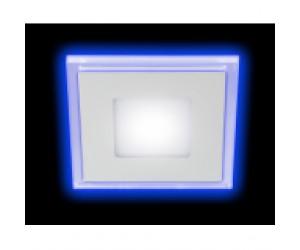Светильник светодиодный с cиней подсветкой LED4-6Вт 220В 4000K квадрат ЭРА