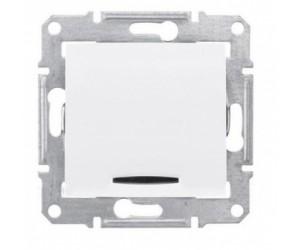 Седна Выключатель 1-кл. с подсветкой белый SDN1400121 (89360)