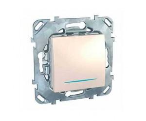Уника MGU5.201.25NZD Выключатель 1-кл. с подсветкой бежевый сх.1 (15438)