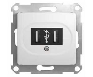 Глосса GSL000132 Механизм USB-розетки бел.