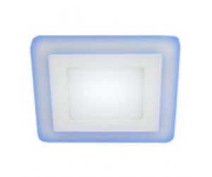 Светильник светодиодный с cиней подсветкой LED4-9Вт 220В 4000K квадрат ЭРА