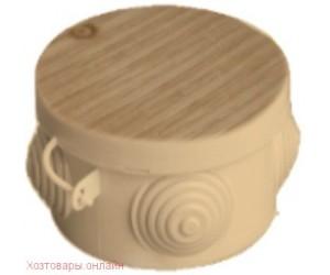 Коробка расп. с крышкой d 65х40 о/п светлое дерево IP54 (60)круг