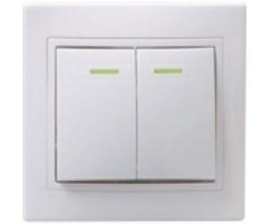 Кварта ВС10-2-1-КБ Выключат.2-клав с инд. с/у 10А бел. ИЭК(10)