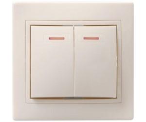 Кварта ВС10-2-1-ККм Выключат.2-клав с инд. с/у 10А крем ИЭК(10)
