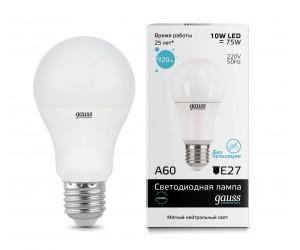 Лампа светодиодная LED А60 10W E27 4100 Gauss Elem