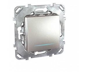 Уника MGU5.201.30NZD Выключатель 1-кл. алюм. с подсветкой (сх.1) (68113)
