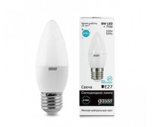 Лампа светодиодная LED свеча 8W E27 4100 Gauss Elem.