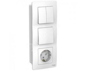 Бланка Блок белый: роз. з/к 16А 250В + выкл.1кл.+ выкл. 2кл. BLNВS101201