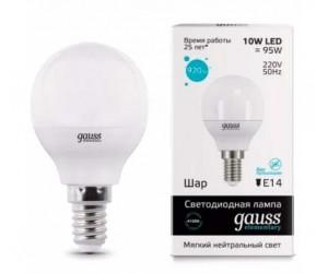 Лампа светодиодная LED шар 10W E14 4100К Gauss Elem.(543030)