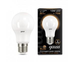 Лампа светодиодная А60 10W E27 2700K Gauss Filament