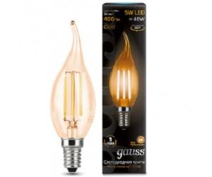 Лампа светодиодная свеча на ветру 5W E14 2700K Gauss Filament
