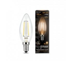 Лампа светодиодная свеча 5W E14 2700K Gauss Filament