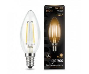 Лампа светодиодная свеча 7W E14 2700K Gauss Filament