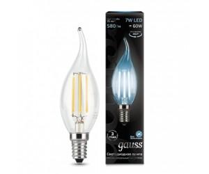 Лампа светодиодная свеча на ветру 7W E14 4100K Gauss Filament