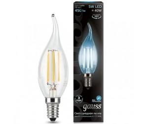 Лампа светодиодная свеча на ветру 5W E14 4100K Gauss Filament