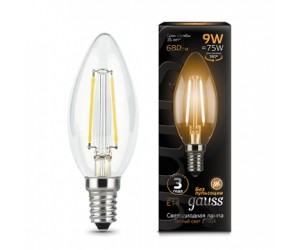 Лампа светодиодная свеча 9W E14 2700K Gauss Filament