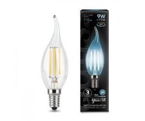 Лампа светодиодная свеча на ветру 9W E14 4100K Gauss Filament