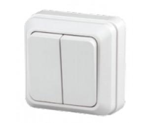 Выключатель 2-клавишный 10АХ-250В о/у белый Intro Quadro Эра (2-104-01)