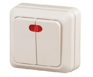 Выключатель 2-клавишный 10АХ-250В о/у с подсв. слон. кость Intro Quadro Эра