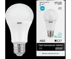 Лампа светодиодная LED А60 12W E27 4100  Gauss Elem.