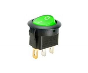 Переключатель круглый MIRS-101-3-G зеленый с подсвет. 2 полож 1з 6А 250В TDM